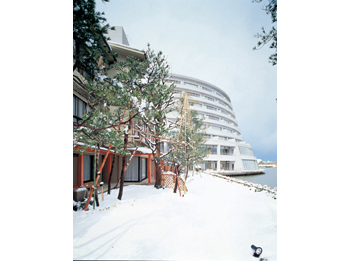 Hotel facade in winter.